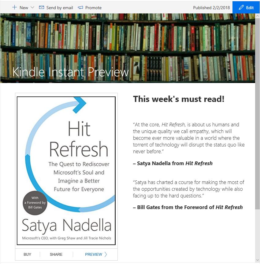 Kindle instant-voorbeeld ingebed in een SharePoint-nieuwsartikel.