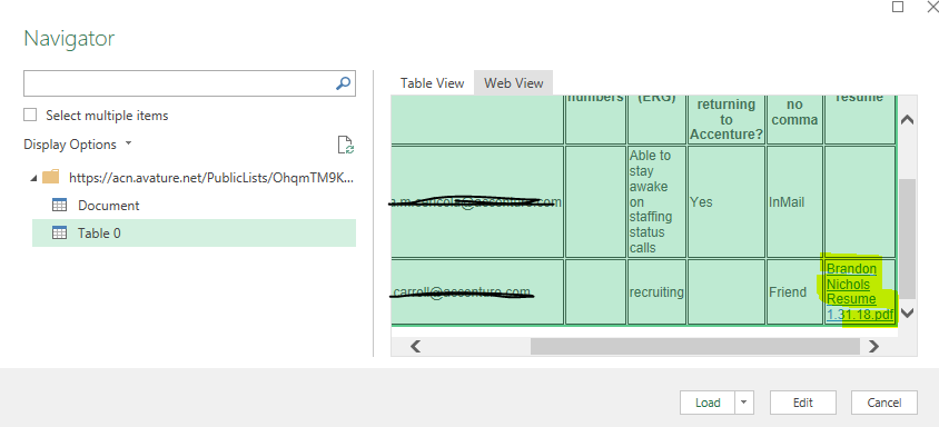 missing hyperlinks when connecting to a web data source microsoft