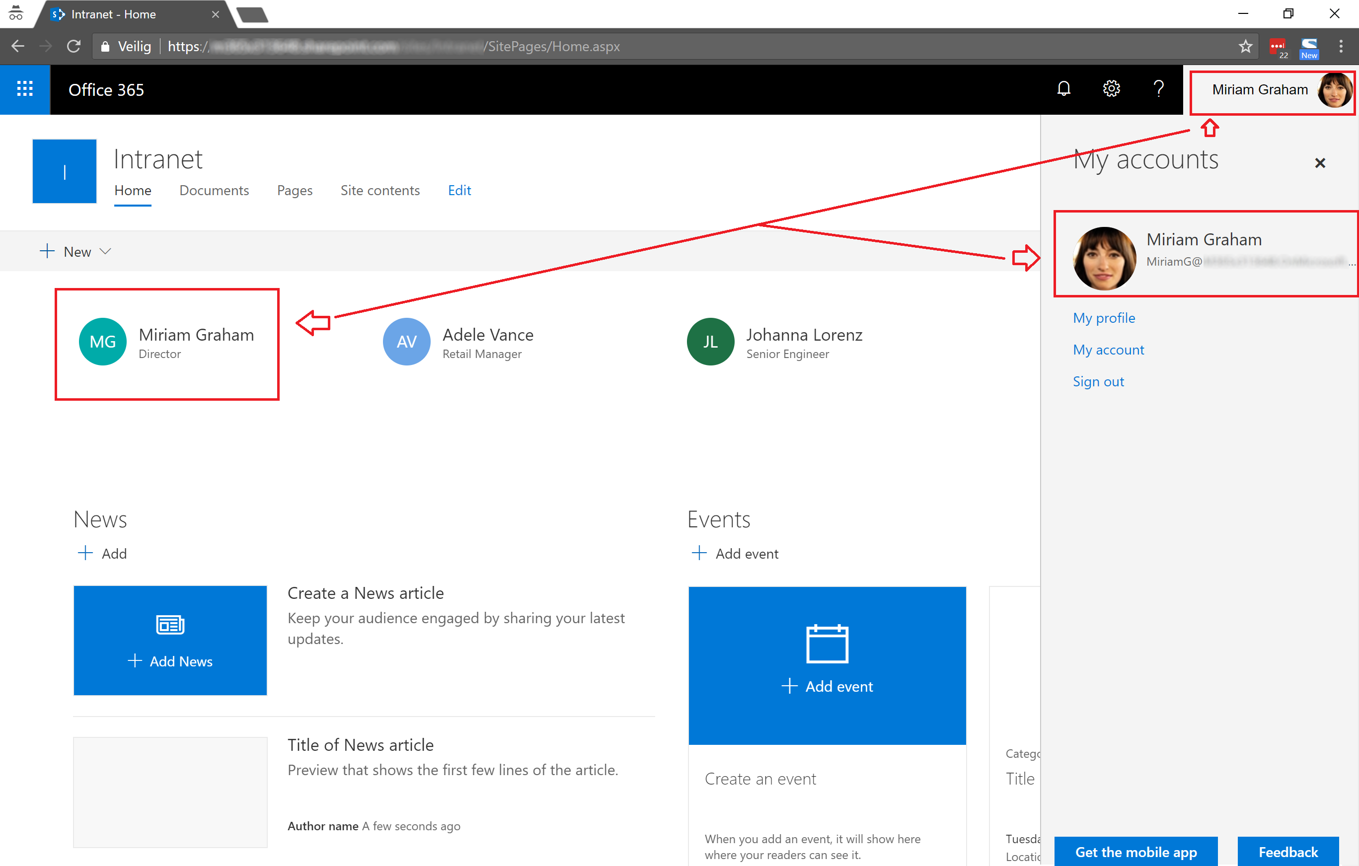 office 365 profile picture not displayed inside sharepoint