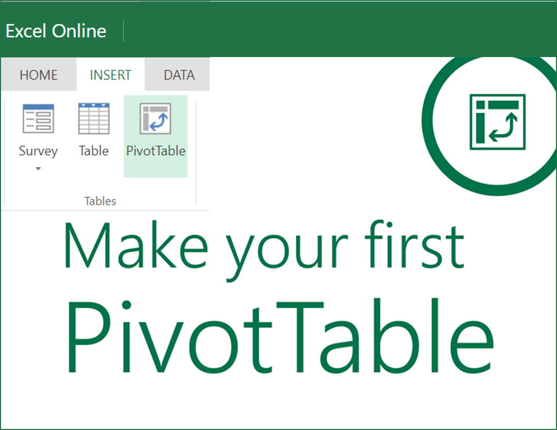 Insert new Pivot Tables in Excel Online