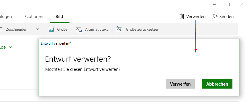 Windows 10 Mail App In German, Cancel An E-mail