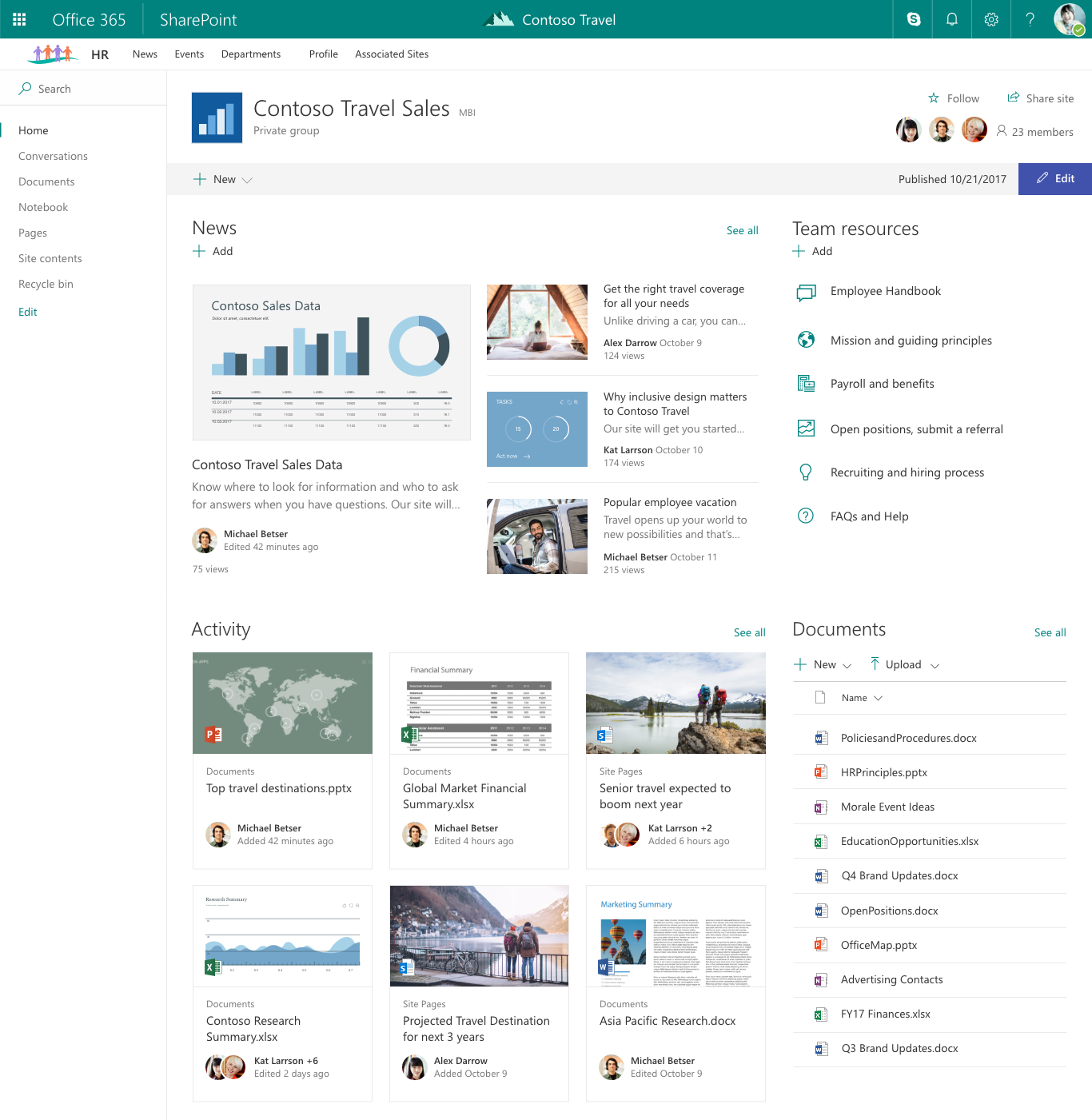Organize your intranet with SharePoint hub sites