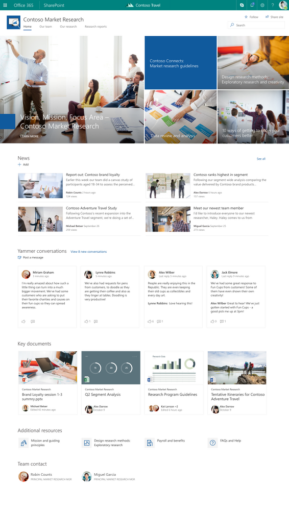 Yammer conversations in a SharePoint communications site