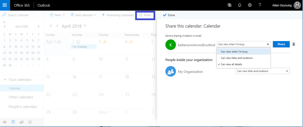 Sharing Office 365 Room's availability to external users
