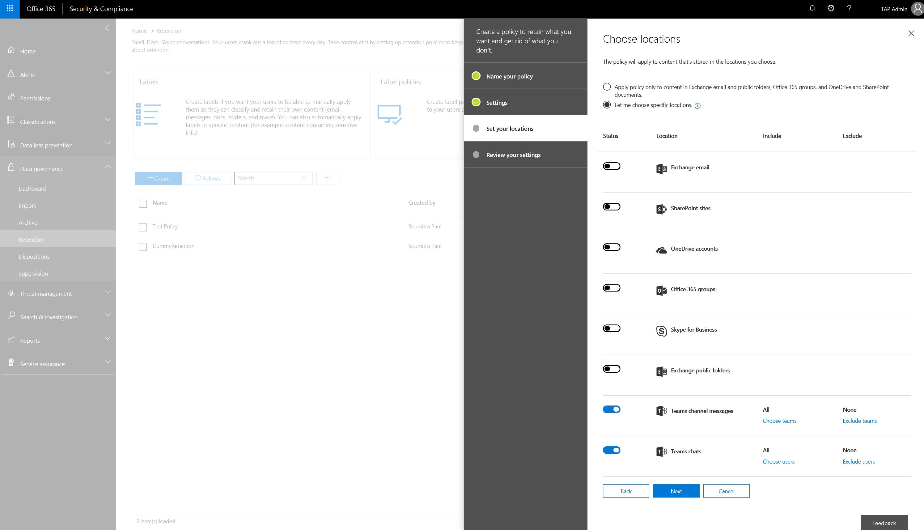 Retention policies for Microsoft Teams - Microsoft Tech