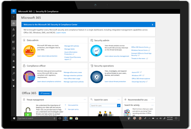 Introducing The Microsoft 365 Security And Compliance Center