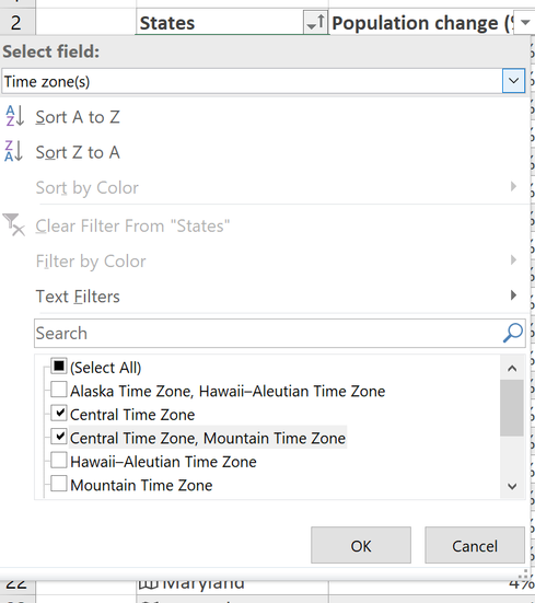 The Select field dropdown lets you work with a field from column of data types