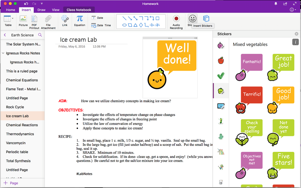 Stickers in OneNote Mac