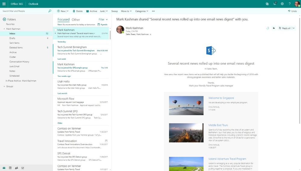 In Outlook, the newsletter retains a clean layout with previews of each article and corresponding image.