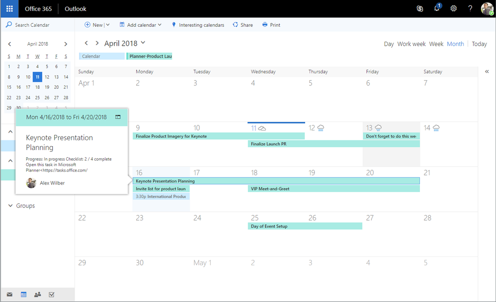 View Planner tasks on your Outlook calendar
