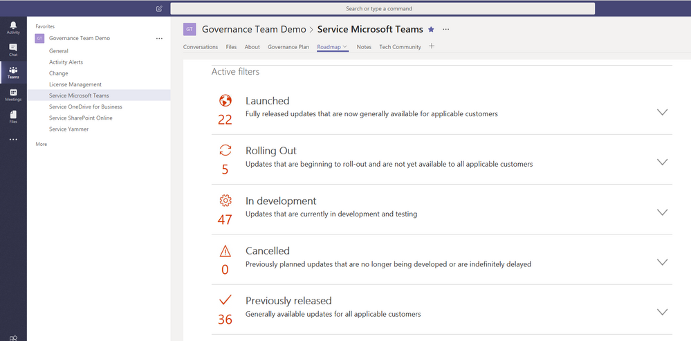 Office 365 Roadmap pre-filtered on the current service