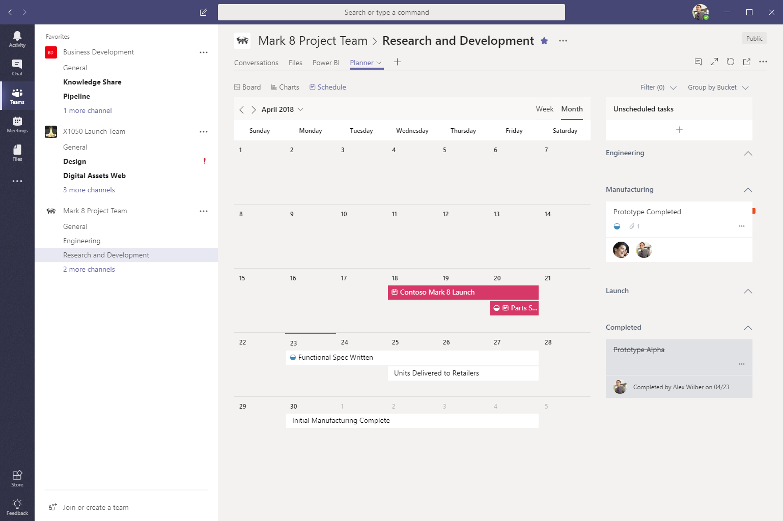 planner tab in microsoft teams now includes the schedule