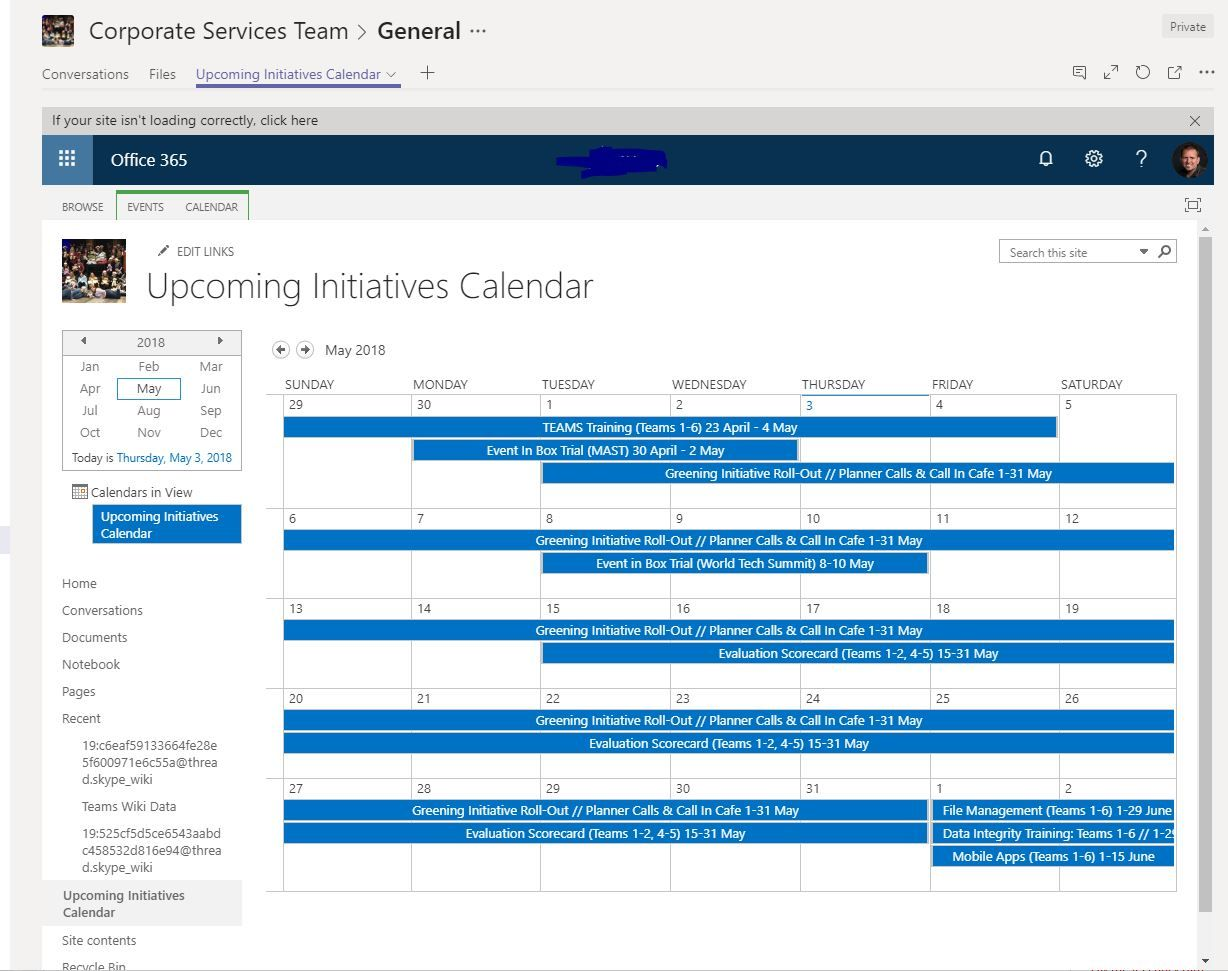 Calendar in Teams? - Microsoft Tech Community - 189986