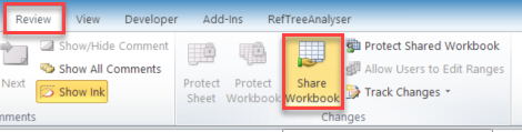 Click Share Workbook