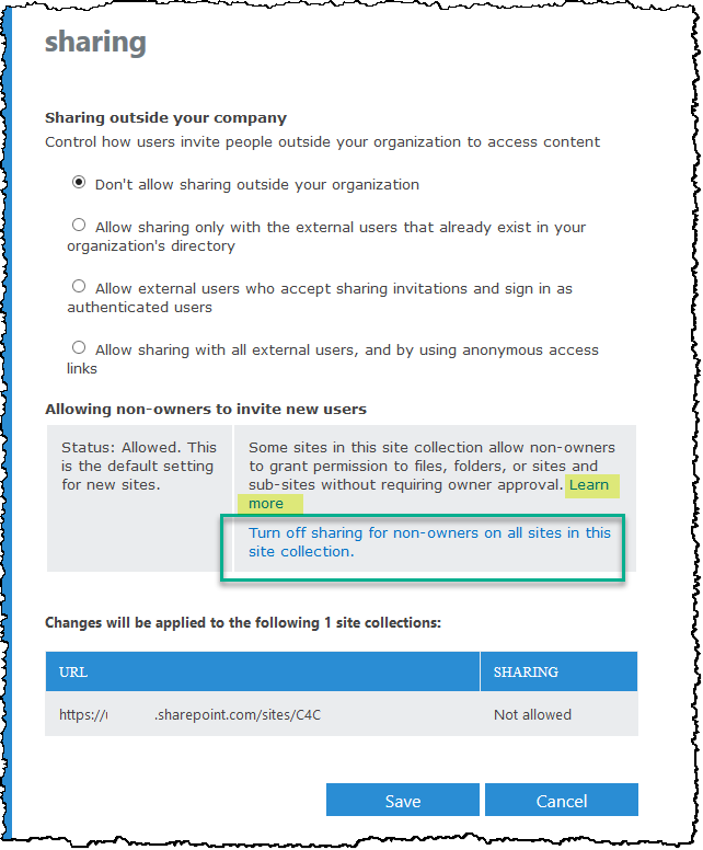 External Sharing Setting in the Admin Center