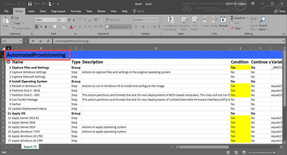 SCCM - Export your task sequence in Excel - Microsoft Tech