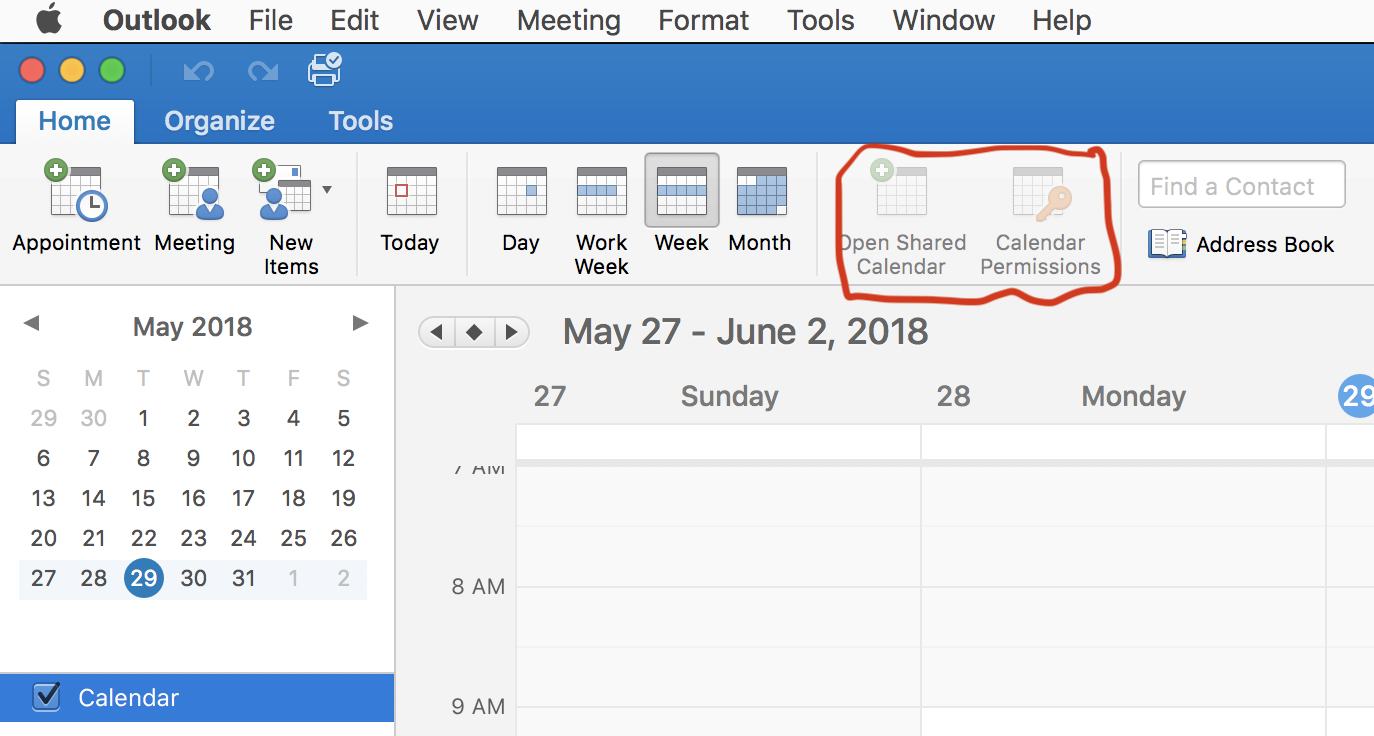 Shared Calendars added to Outlook 2016 not synced to Outlook on Mac