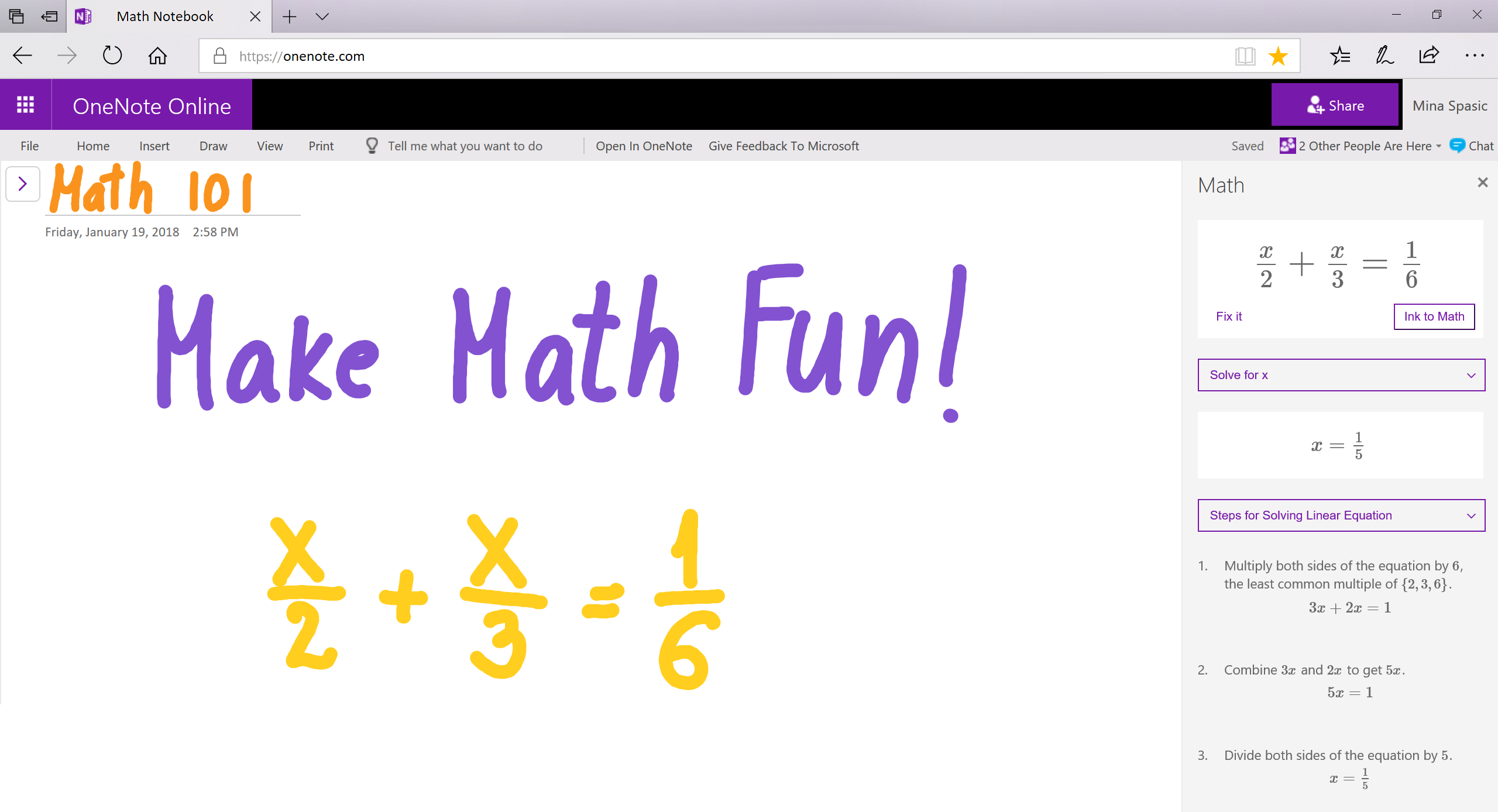 Ink math assistant for OneNote Online is here! - Microsoft Tech