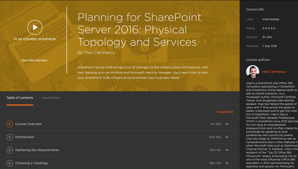 New Pluralsight Course: Planning for SharePoint Server 2016