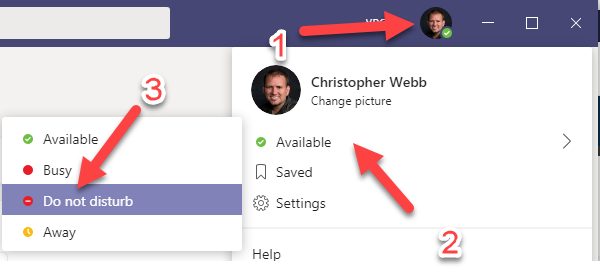 Using Do Not Disturb to suppress notifications in Teams