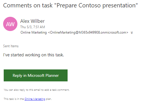 Screenshot of email notification for first task comment