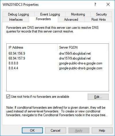 Windows Server 2016 No Internet Access after AD, DNS and