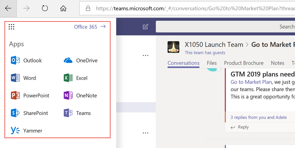From the Teams web client, you can now get easy access to some of our core Office 365 apps