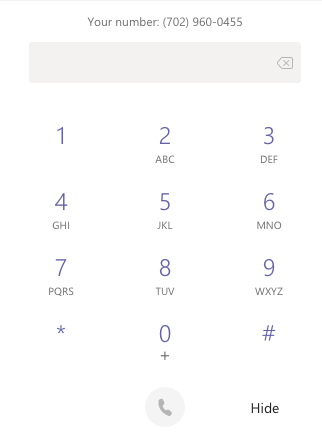 My Teams Dialpad