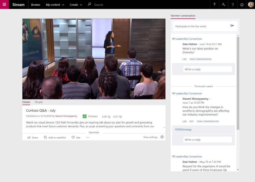 View a live event with inline Yammer conversations