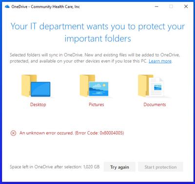Known Folder Move fails, error code 0x80004005 - Microsoft