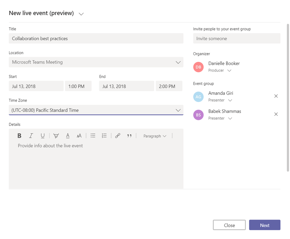 Organize a new live event in Microsoft Teams