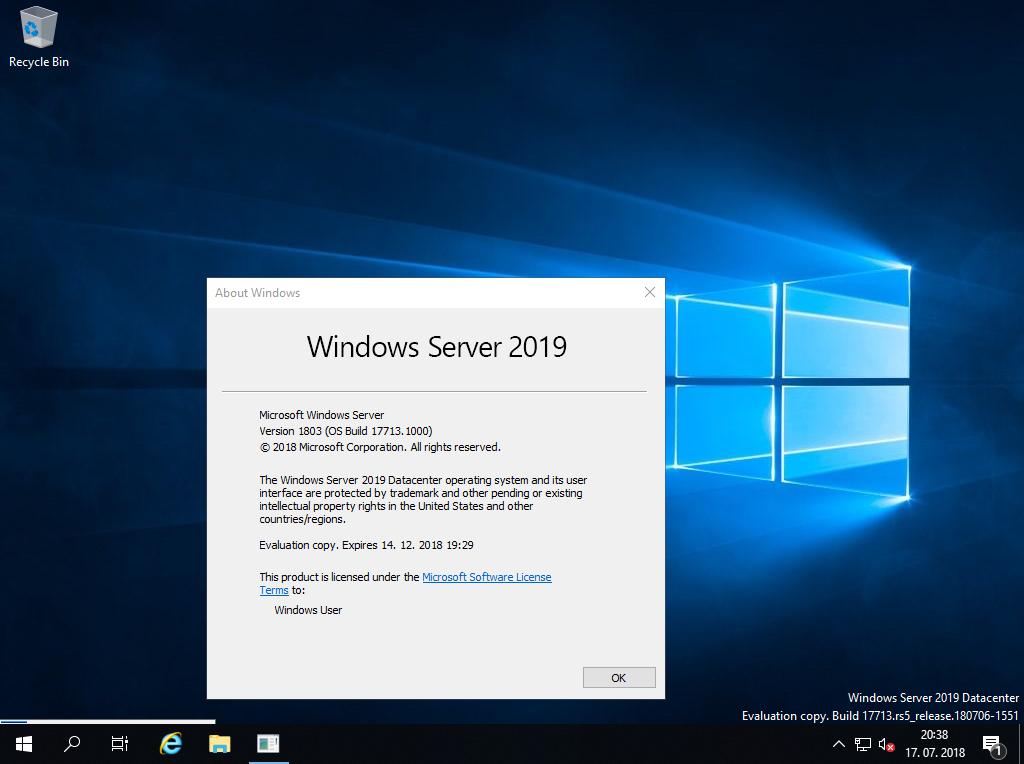 Re: Windows Server 2019 Preview Build 17692 / 17709 / 17713