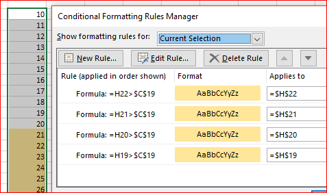 Copying Conditional formatting with relative cell