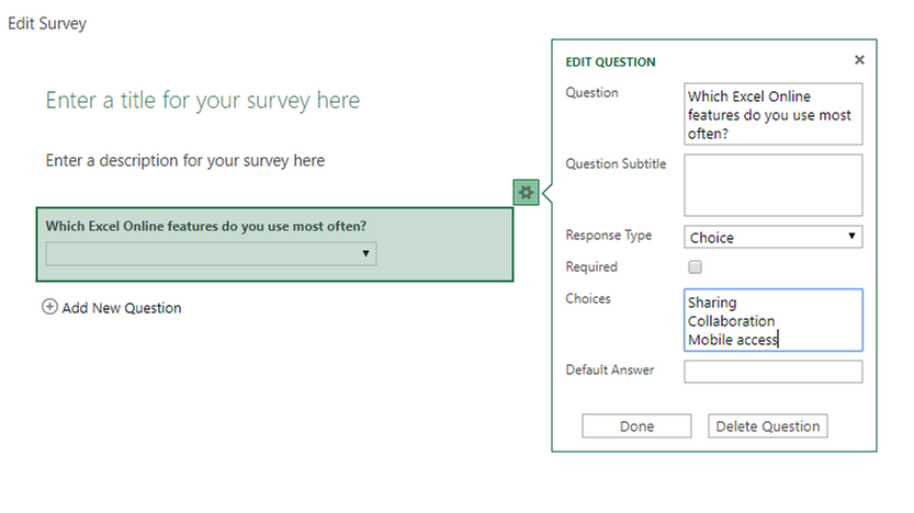 Edit Excel survey