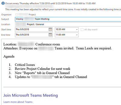 Note that the Organizer is the project name not the name of the person who created the meeting in Teams. AND the creator cannot make any changes in Outlook ...
