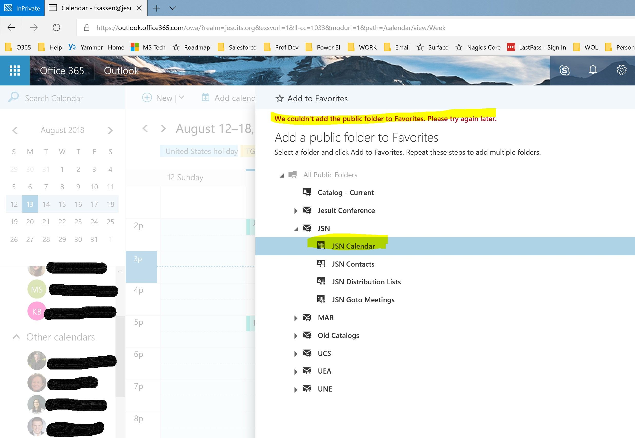 Add To Favorites public folder calendars will not add as favorites in outlook