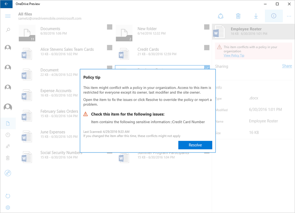 Announcement: Data Loss Prevention Policy Tips in OneDrive