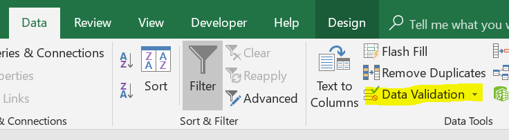 """In the """"Data"""" tab on the ribbon, you can see the """"Data Tools"""" section has a button for """"Data Validation"""""""
