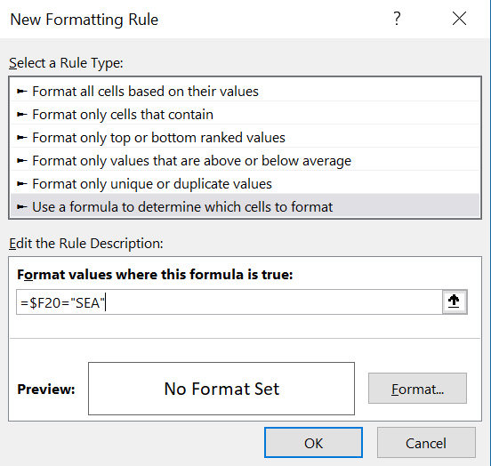 Here, we show how the formula is written to set all rows where a player has team of SEA to the correct formatting