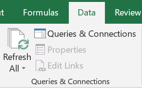 """The button for """"Refresh All"""" is in the """"Data"""" tab in the ribbon in a section called """"Queries & Connections"""""""