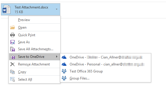Save attachments from Outlook 2016 to OneDrive - Microsoft