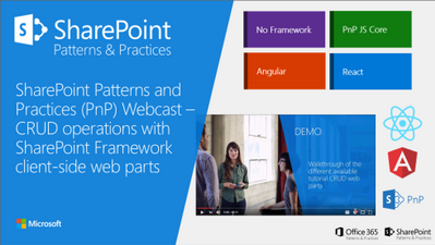 New SharePoint / Office365 Dev PnP webcast - CRUD operations
