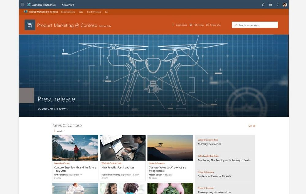 Example SharePoint hub site used to communicate news and information to the Contoso Inc. product marketing team through their intranet.
