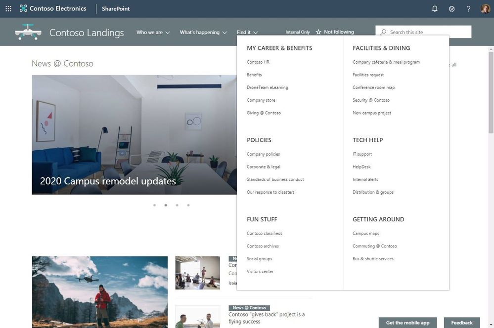 New SharePoint megamenu shown being used on a communication site.