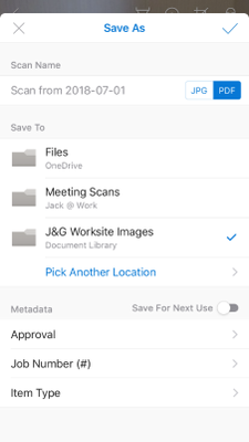 Saving images with metadata during mobile capture