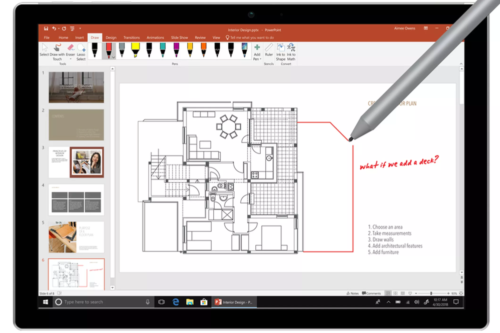 Drawing a floorplan and extension on a Microsoft Surface Pro with a Microsoft Surface pen