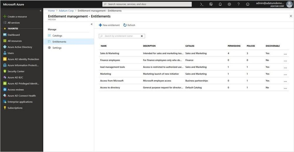 New Entitlements management capability within Azure AD Identity Governance.