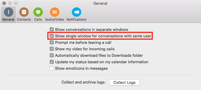 Multiple chats sessions with same contact in S4B window