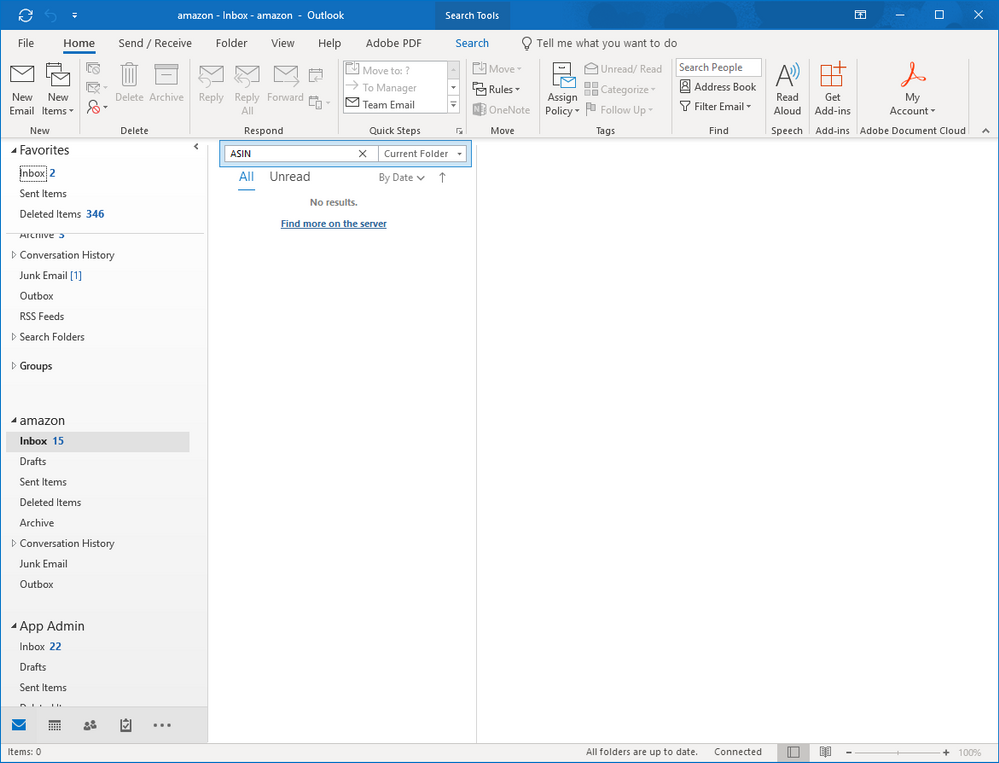Search in outlook 2016 shared mailbox is not working