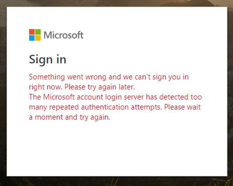 cant log into microsoft account